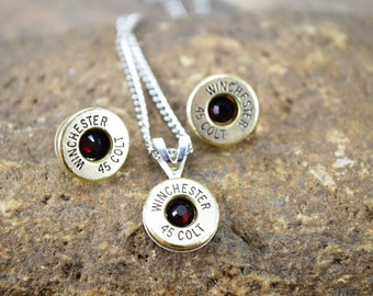 Bullet Jewelry Set ~ Winchester 45 Colt ~ Siam Swarovski Gemstones ~ Necklace and Earrings