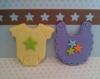 Baby Bib and Onesie Edible Cupcake Topper Baby Boy or Gender Neutral - Set of 12
