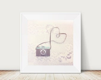 vintage camera photograph retro camera print pastel home decor nursery wall art hipster style camera heart photograph