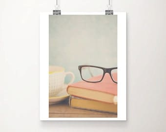 book photograph glasses photograph still life photography literature print library decor book print tea cup photograph