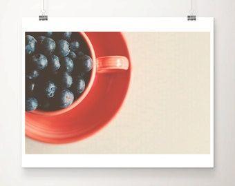 blueberry photograph kitchen wall art food photography coral home decor fruit photograph blueberry print food print still life photograph