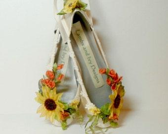 Sunflower Shoes, Sunflower Bride, Fall Bridal Shoes, Woodland Garden Shoes, Fairytale Shoes, Fairy Shoes