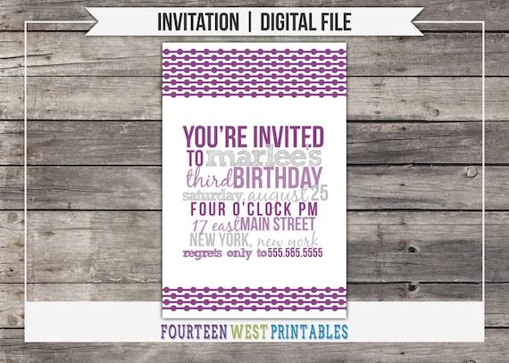 ON SALE! Typographic Birthday Invitation -- Printable, Digital File