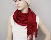 CLEARANCE SALE - Scarf ,Ruffle scarf  ,Pashmina ruffle scarf ,long scarf  ,  burgundy