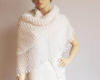 White  bridal shawl wedding  crochet shawl scarf crocheted shrug capelet wrap