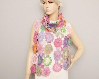 Multicolor crochet long scarf, colored crochet scarf