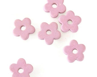 15% OFF 10 Pink Flower Beads,  Floral Beads, Flower Ceramic Beads C 10 259