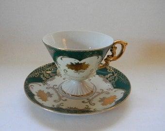 TEACUP. Vintage ROYAL HALSEY, Teal and Gold, Footed Teacup
