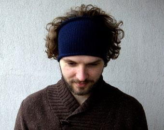 Knitted Mens Headband Guys knit hair wrap - Navy Blue, Plum Unisex Adults Dread band dreadlocks accessory