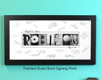 Guest Book Print, FRAMED signing print in  Alphabet Photography, photo name art, wedding signage