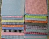 "Huge lot GINGHAM fabric 26 pieces checks are 1/8"" - 1/4"" many colors doll children craft sewing yardage clean fresh"
