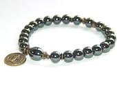 Saint Benedict Bracelet, Stretchy Hematite & Brass - Catholic Saint Medal Jewelry