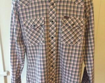 Vintage Plaid Wrangler Western Shirt - Size Large