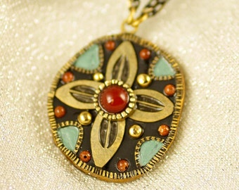 Michal Golan Abstract Flower Pendant Necklace w/ Carnelian Handmade in USA