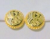 Vintage Damascene Dragon Design Earrings