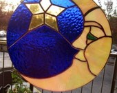 Stained Glass Moon with green eye ~ Man in the moon ~ Handmade ~ Iridescent moon ~ Nature  ~ Great Gift!