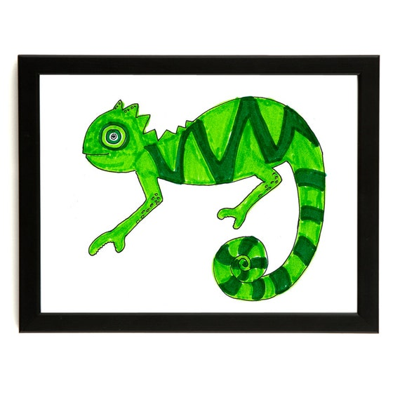 Clever Chameleon - Art print of the original colourful drawing