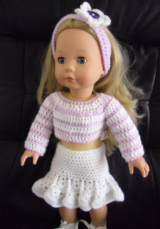 PDF Crochet pattern for skirt jumper and headband for 18 inch