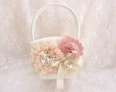 Victorian Flower Girl Basket, Vintage Flower Girl Basket Blush, Champagne and Rose