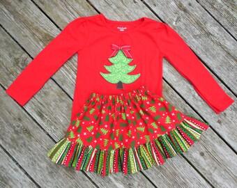 Girl's Toddlers Christmas Skirt and Shirt Outfit - Christmas trees with Ruffle Skirt and Christmas Tree Applique Shirt