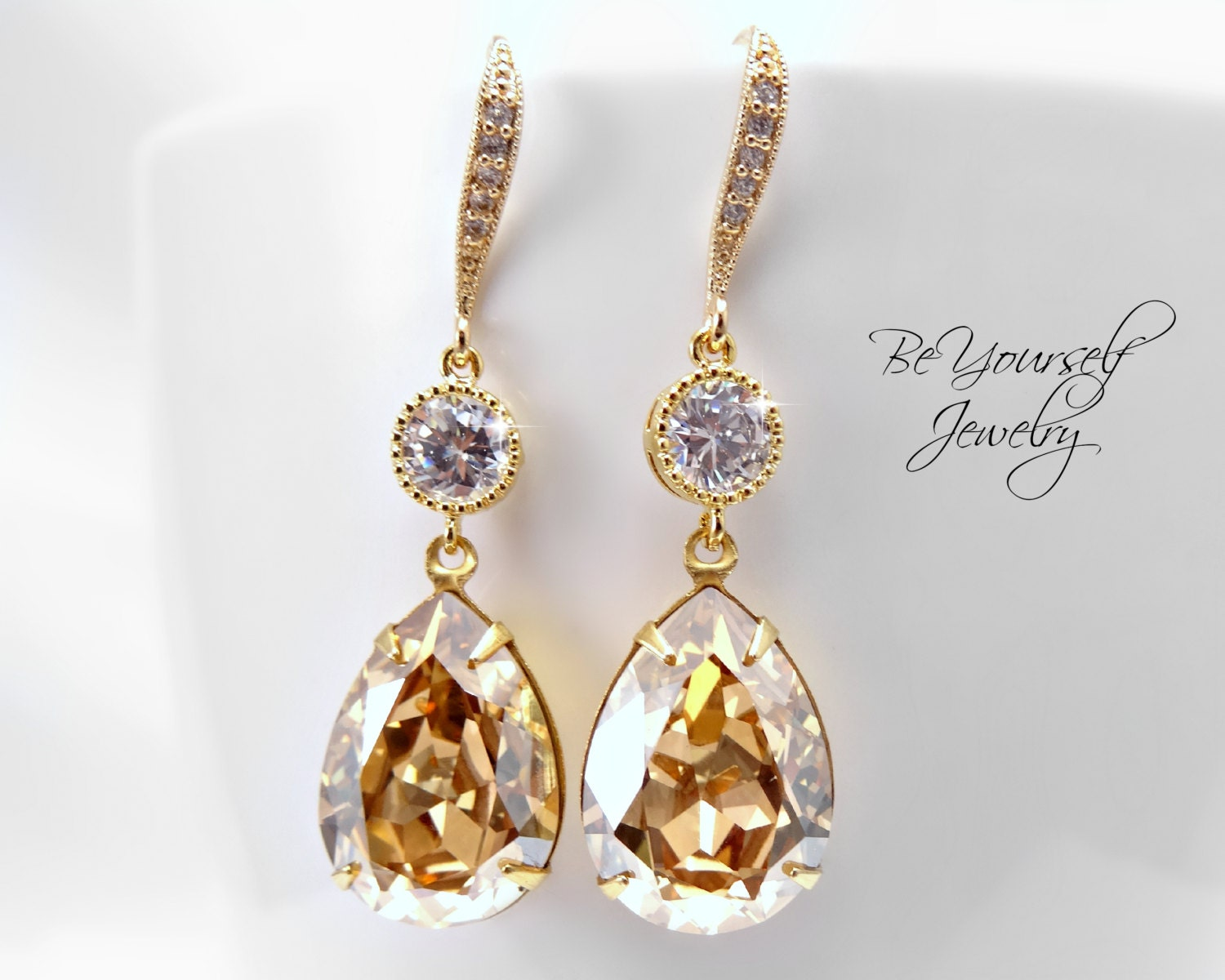 Gold bridal earrings champagne teardrop bride earring wedding for Jewelry for champagne wedding dress