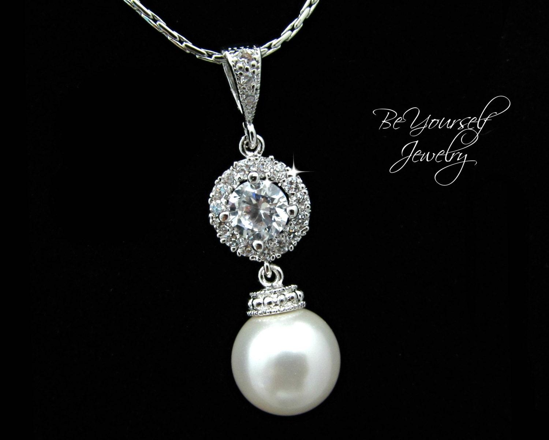 Pearl Bridal Necklace White Crystal Wedding Jewelry Swarovski Pearl Bride Necklace Cubic Zirconia Pendant Bridesmaid Gift Bridal Jewelry