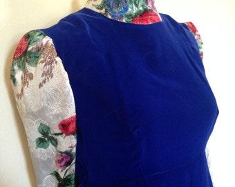 Floral and Cobalt Velvet Maxi
