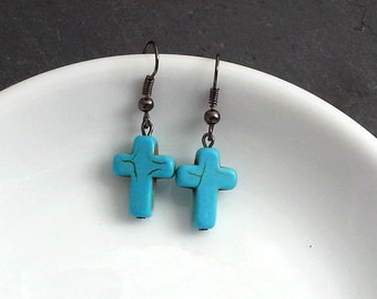 SALE Cross Earrings. Turquoise EBlue arrings. Gemstone Cross Pendant. Steampunk Jewelry. Halloween Earrings