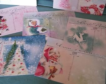 Santa clause postcard, santa Greeting cards Christmas postcard Vintage Christmas postcard Santa Claus rudolf Holiday tags set of 14