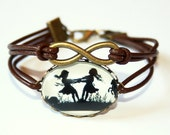 Eternity Infinity & Dancing Sisters Silhouette leather bracelet bronzecolored - twin sister best friend mother daughter gift