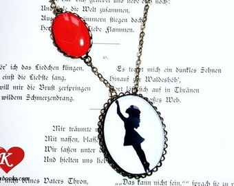 Girl with a red balloon Silhouette - Necklace bronzecolored With best wishes for the best friend
