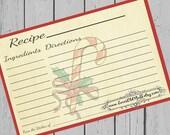 Christmas Recipe Cards 4x6 Printable Candy Cane Recipe Card 3x5 Holiday Recipe Card 3.5x5