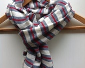 Scarf -Men Women Gray and Red wool and white Cotton Nautical Stripe Ethiopian Scarf- Buckeye Handwoven Cotton Wool- Scarves Accessories
