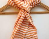 Cotton Scarf-Orange & White Cotton Scarf- Women Men Orange and White Stripe Scarf- Ethiopian Hand Woven Tangerine Orange Summer Scarf