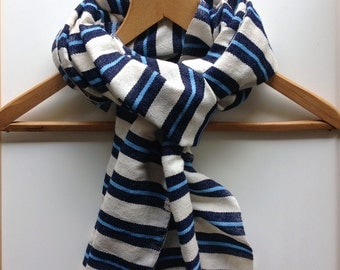 Navy and powder blue scarf-Cotton Wool Stripe Scarf- Denim mens wool scarf- Womens scarves- Accessories -scarves & wraps -Ethiopia