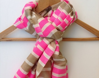Accessories- scarves wraps shawl- pink taupe white stripe cotton scarf- women cotton scarf-pop bright color scarf- Ethical scarf - Ethiopia