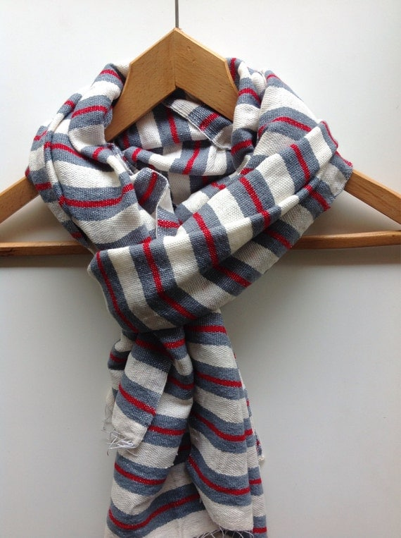 Scarf - Gray and Red wool cotton blend scarf- Ethiopian Scarf- Red and grey scarf- scarves wraps - blanket scarf - mens + womens scarf gift
