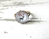 Deer ring , Christmas gift , Gift for her , Small statement ring , Adjustable Ring FREE SHIPPING !