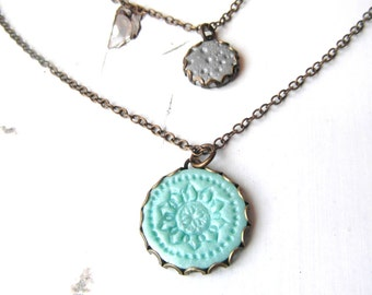 Layered necklace , Multi pendant necklace, round coin pendant , layered necklace set , Double charm necklace