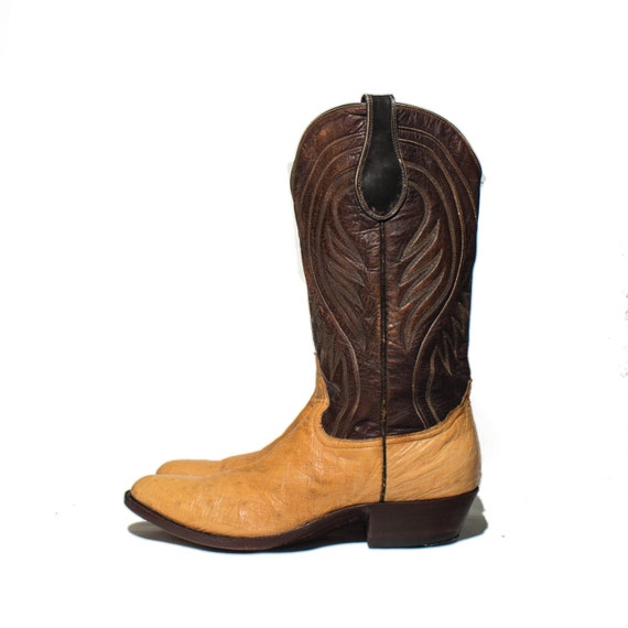 11 D Vintage Crown Boot Company Cowboy Boots Two Tone Brown
