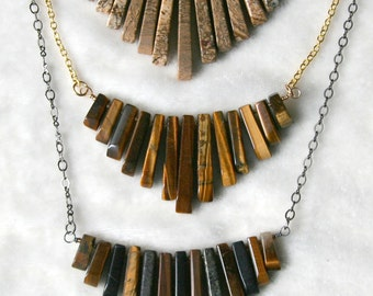 Graduated Gemstone Fan Necklace Tiger's Eye, Picture Jasper, Obsidian