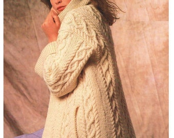 PDF Knitting Pattern - Ladies Cabled Aran Jacket or Coat - Instant Download