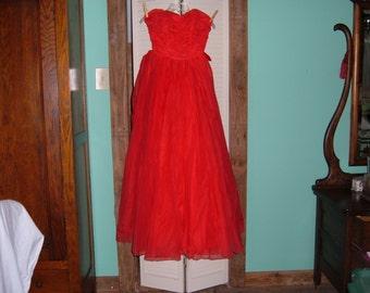 1962 Red Full Length Strapless Formal Dress