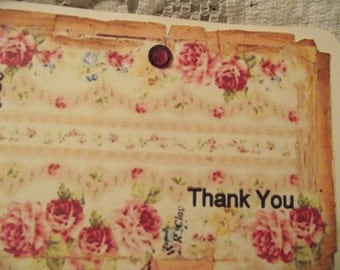 Distress Edges Pastel Pink Roses Shabby Chic Style Thank You Card Hand Stamped