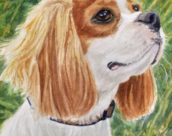 Cavalier King Charles Art Print, Dog Art Print, Cavalier King Charles Spaniel Art, Cavalier King Charles Watercolor by P. Tarlow
