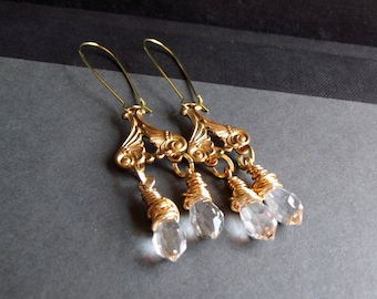 Long Chandelier Crystal Earrings:  Antiqued Gold Dangle Earrings, Clear Crystal Drop Earrings, Holiday Sparkle Jewelry