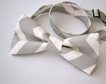 Mens Bowtie- Gray and White Chevron