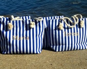 Bridesmaids Gifts, Beach Wedding, Nautical Personalized Tote, 4 BAGS
