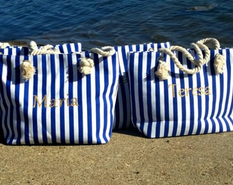 Bridesmaids Gifts, Beach Wedding, Nautical Personalized Tote, RESERVED LISTING, 5 BAGS