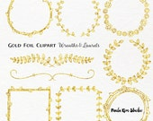Gold Foil Laurel and Wreath Frame Clipart, Wedding Clip Art, Instant Download, Commercial Use